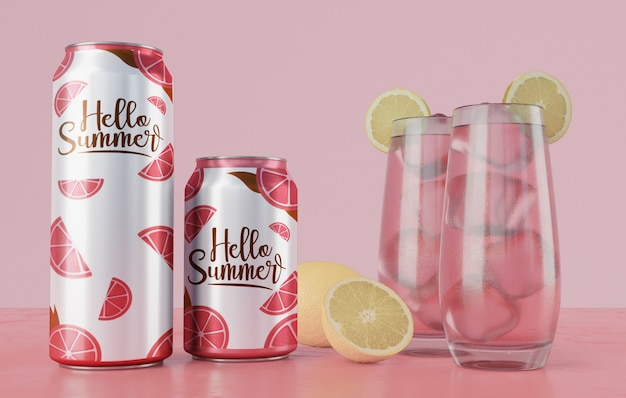 Summer drinks on table with pink background Free Psd