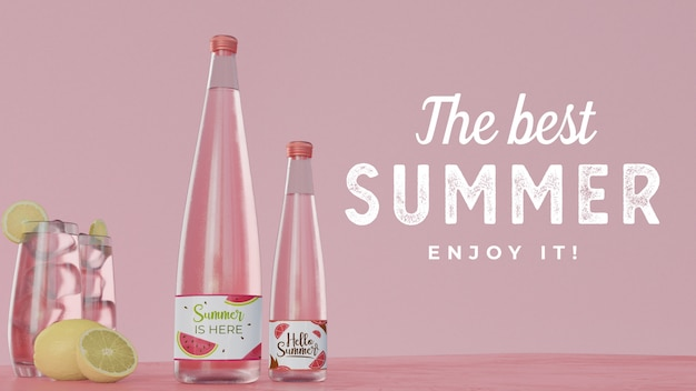 Summer drinks on table with typography Free Psd