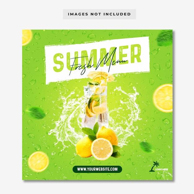 Summer fresh menu instagram post banner template Premium Psd