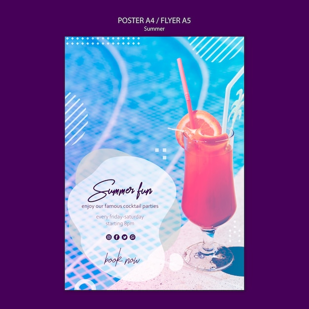 Summer fun poster template with picture Free Psd