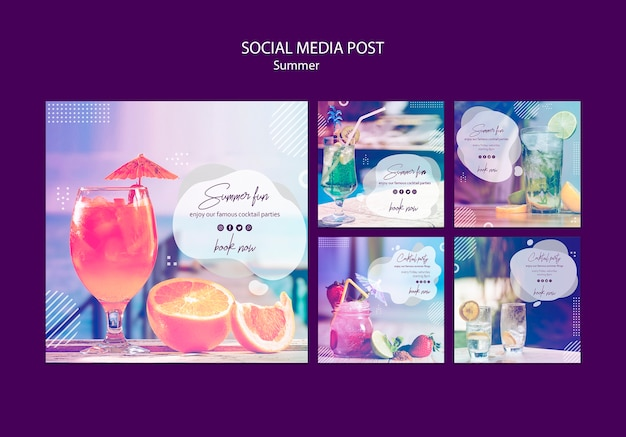 Summer fun social media posts templates with photo Free Psd