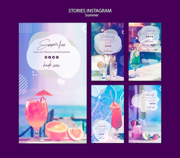 Summer fun stories templates with photo Free Psd