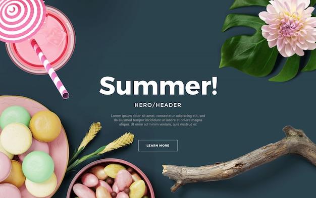 Summer hero header custom scene Premium Psd