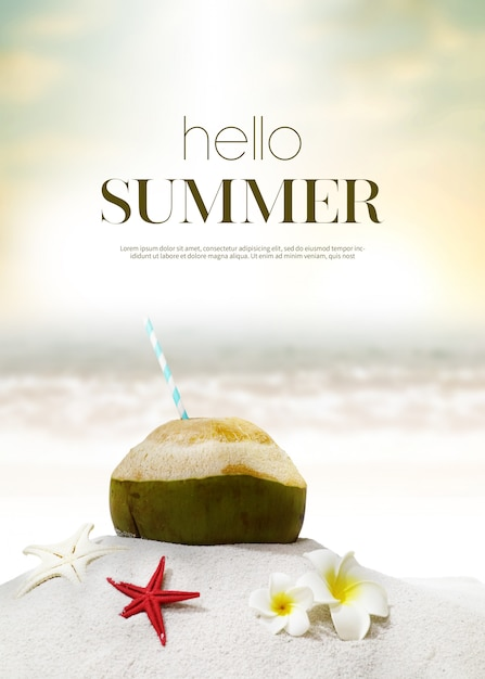Summer holiday background & object Premium Psd
