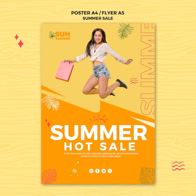 Summer hot sales poster template Free Psd