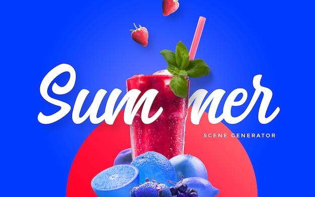 Summer juice custom scene PSD file | Premium Download