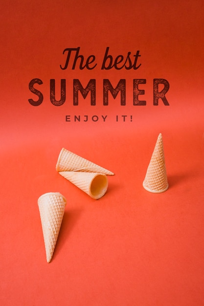 Summer lettering background with ice cream cones Free Psd