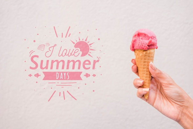 Summer lettering background with ice cream Free Psd