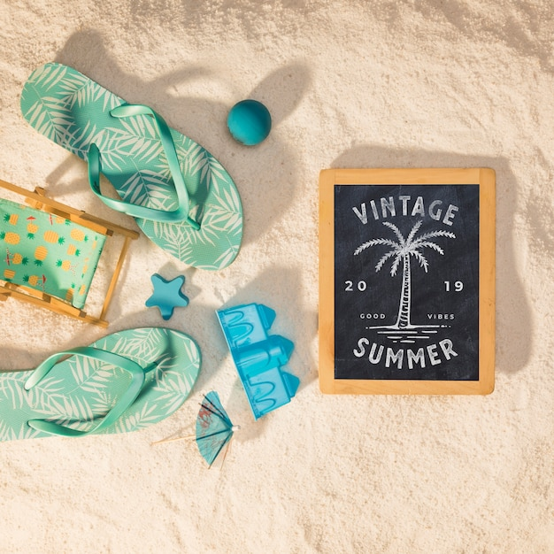 Summer mockup with colorful sandal Free Psd
