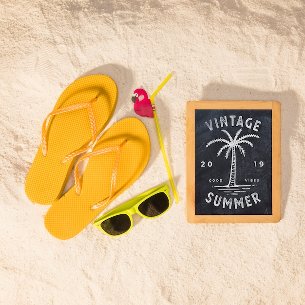 Summer mockup with colorful sandals and sunglasses Free Psd
