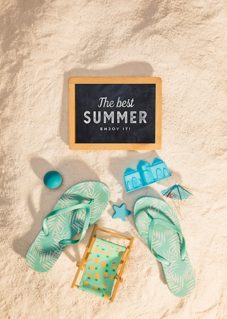Summer mockup with colorful sandals Free Psd