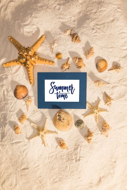 Summer mockup with marine elements Free Psd