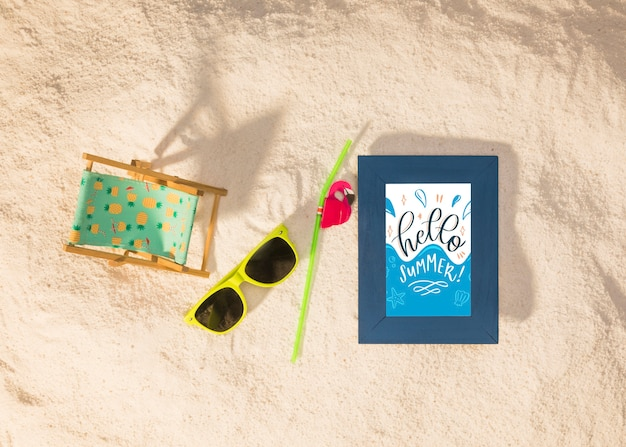 Summer mockup with a sunglasses Free Psd
