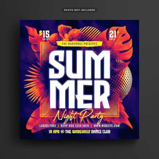 Summer night party club flyer Premium Psd