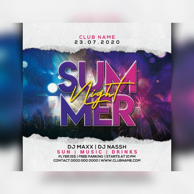 Summer night party flyer Premium Psd