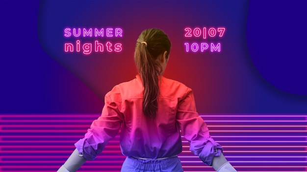 Summer nights party banner in neon lights style Free Psd