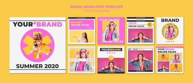 여름 온라인 쇼핑 instagram 게시물 무료 PSD 파일