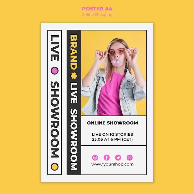 Летний интернет-магазин постеров с фото Бесплатные Psd