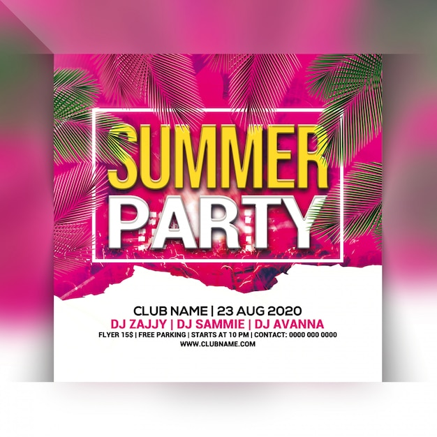 Summer party flyer Premium Psd