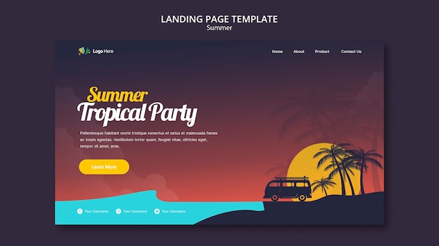 Summer party landing page template Free Psd