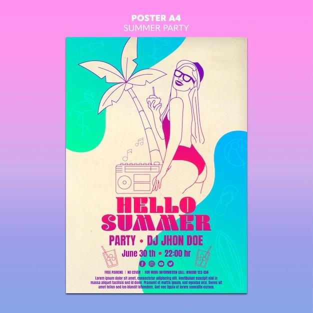 여름 파티 포스터 템플릿 개념 무료 PSD 파일