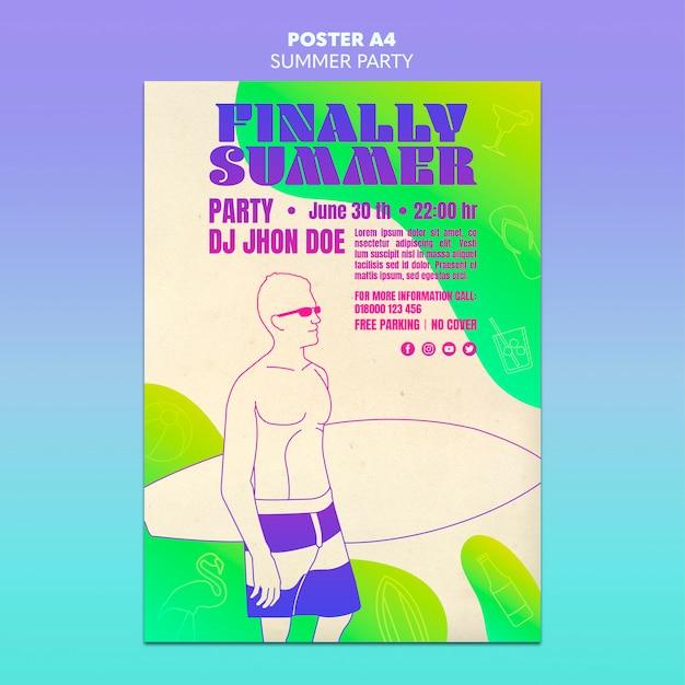여름 파티 포스터 템플릿 디자인 무료 PSD 파일