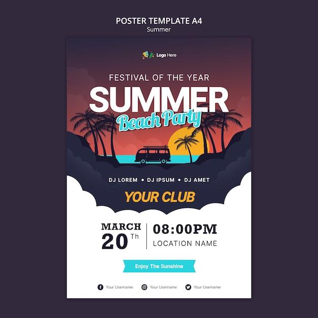夏のパーティーポスターテンプレート Premium Psd