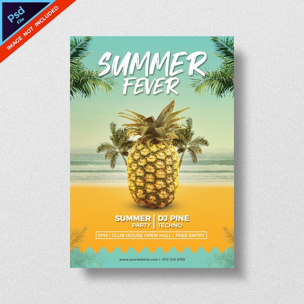 Summer party style flyer template design Premium Psd