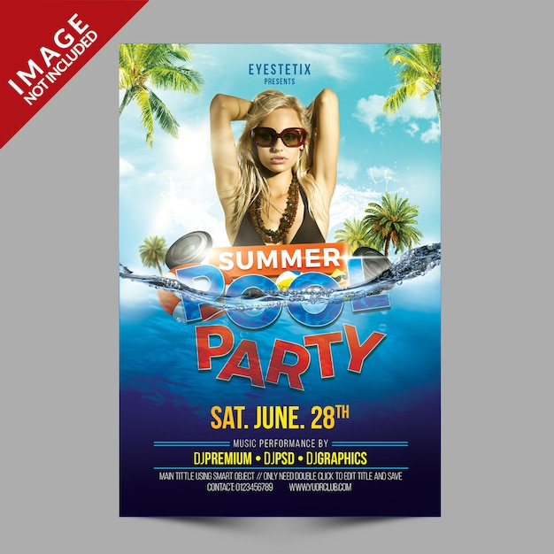 Summer pool party flyer Premium Psd