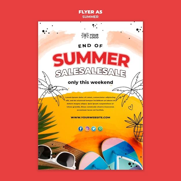Летняя распродажа на пляже постера шаблона Бесплатные Psd