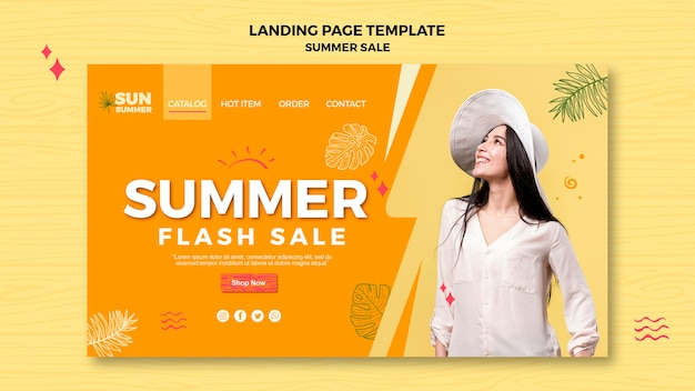 Summer sale and woman landing page Free Psd