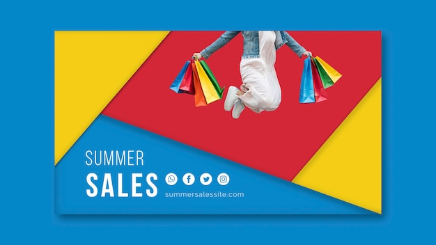 Summer sales banner template with colorful triangular shapes Free Psd
