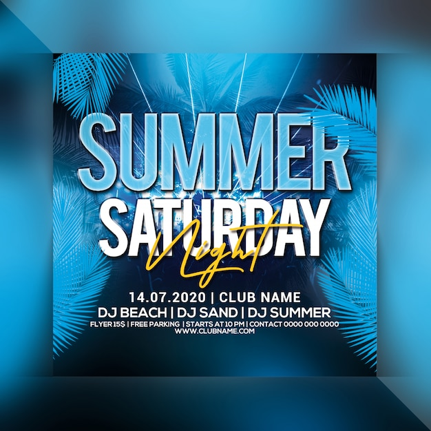 Summer saturday night party flyer Premium Psd