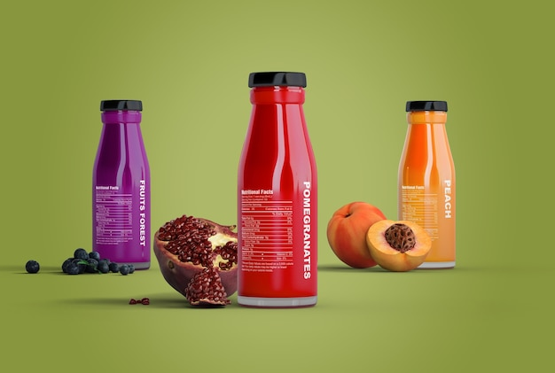 Summer smoothies on green background mock-up Free Psd