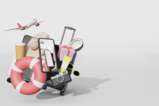 3 dイラストのレンダリングで携帯電話のモックアップと夏のもの Premium Psd
