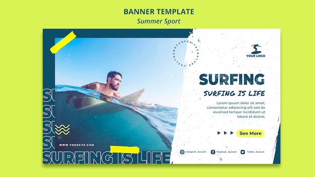 Summer surfing banner template concept Free Psd