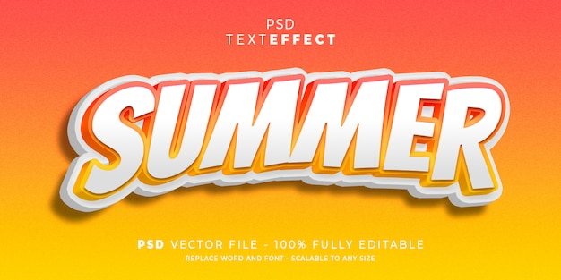 Summer text and font effect style Premium Psd