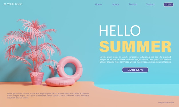 Summer-themed, landing page design template Premium Psd