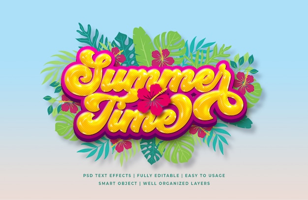 Summer time 3d text style effect Premium Psd