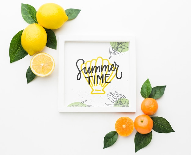 Summer time concept with fresh fruits Free Psd