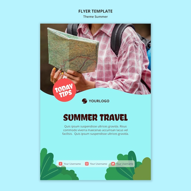 Summer travel flyer template Free Psd