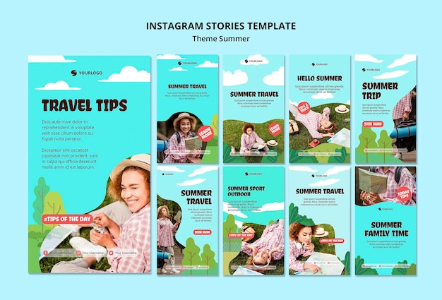 Summer travel instagram stories template Free Psd