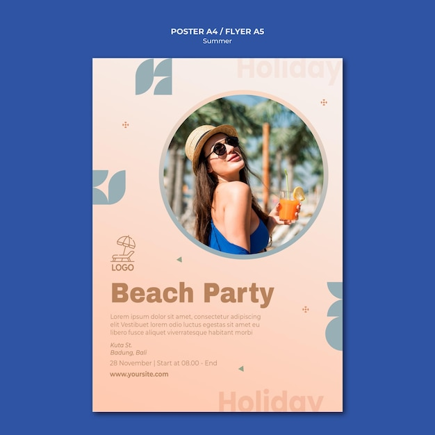 Summer travel poster template Free Psd