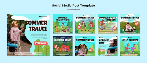 Summer travel social media post template Free Psd