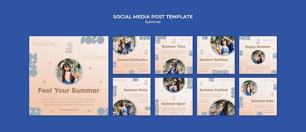 Summer travel social media post template Premium Psd