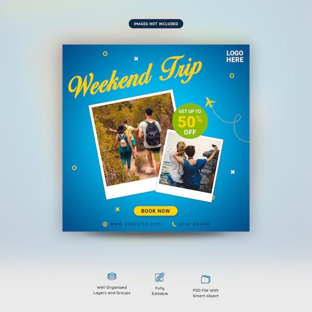Summer traveling offer social media post template Premium Psd