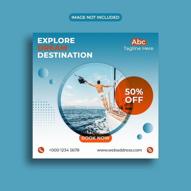 Summer travelling social media banner template Premium Psd