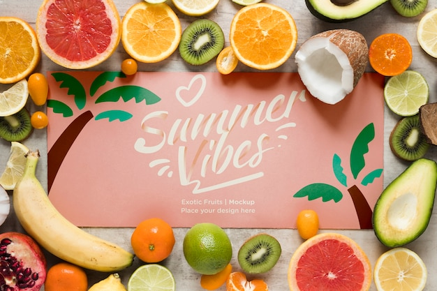 Summer vibes with collection of exotic fruits Free Psd