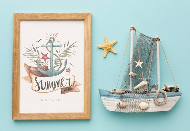 Summertime concept with boat Free Psd