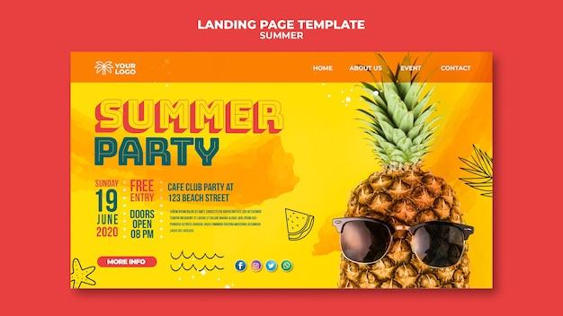 Летний ананас с бокалом плаката Бесплатные Psd